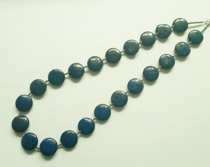"""Lapis lazuli and pyrite gemstone necklace, blue, gold, 21"""", sterling silver"""