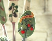 Garden Markers - One of a kind, Polymer clay, Made to Order, Silverware garden markers