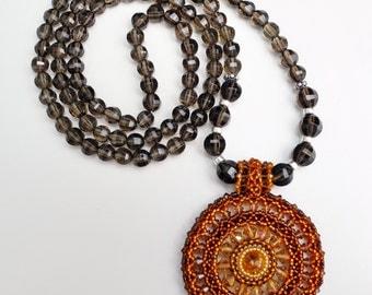 108 Stone Smokey Quartz Mala Necklace with Beaded Colour Medallion