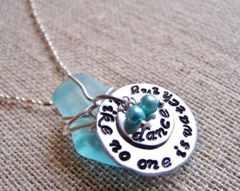 Personalized Sea Glass Handstamped disc pendant necklace sterling chain