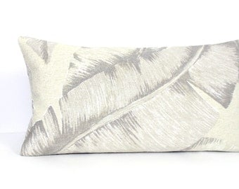 Lumbar Pillow Cover Grey Beige Tropical Leaf Decorative Accent Throw Pillow Cover 12x24 12x21 12x18 12x16 10x20