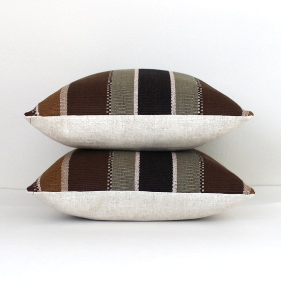 Decorative Black Lumbar Pillow : Lumbar Pillow Cover Black Brown Striped Decorative Upholstery