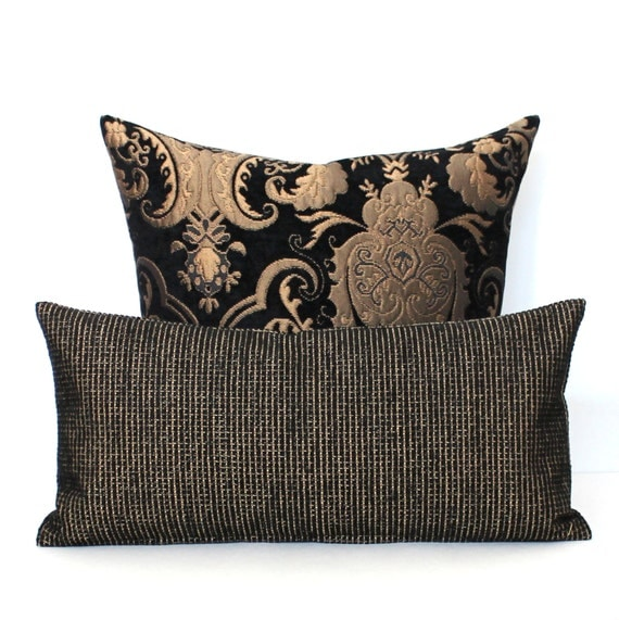 Lumbar Pillow Black Pillow Chenille Throw by couchdwellers