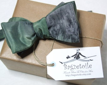 Mens bow tie, for him, pure silk, freestyle, hand painted, green / grey colours, self tie - handmade by Bagzetoile, France - ships worldwide