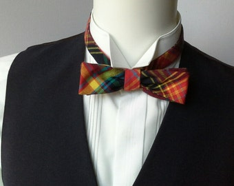 Plaid Skinny Bow Tie, self tie, adjustable to collar size, ships worldwide from Bagzetoile, France