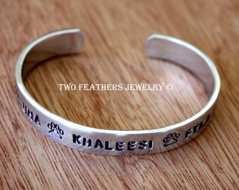 Hand Stamped Cuff Bracelet - Personalized - Dog Name Bracelet - Dog Lover Gift - Paw Print Cuff - Customized Jewelry - Aluminum Cuff