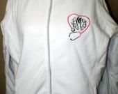 Nurse Monogrammed Fleece Jacket Heart Stethoscope - Nurse Fleece Jacket - Fleece Jacket, RN, BSN, LPN, Stethoscope Jacket