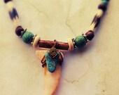 Native Spirit// Turquoise, Wood Beads, Horn,Bone, Ethnic, Tribal Necklace