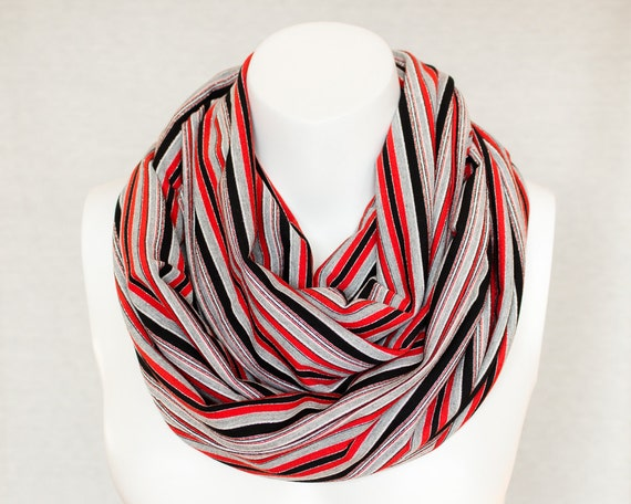 Red Infinity Scarf Cowl Scarf Red and Black Striped Scarf Christmas Gift Ideas