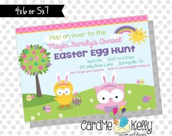 Printable Easter Egg Bunny Chick Egg Hunt Party Invitation- Digital File