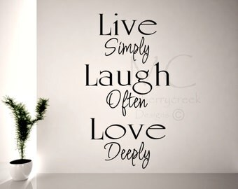 Live Laugh Love Wall Decal, Decal for Family Room, Live Simply, Laugh Often, Vinyl Wall Decals for Family Room, Family Room Wall Decor