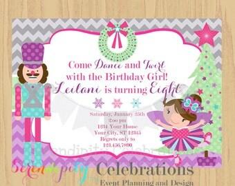 12 Printed Invitations By Serendipity Celebrations -Sugar Plum Fairy-Birthday -Baby Shower -Printing Service