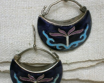 Antique Chinese Earrings, Silver Cloisonne Enamel, As-Is
