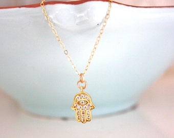 Gold Necklace, Dainty Gold Necklace, Gold Hamsa Necklace Hamsa Necklace Bridesmaid Necklace Gold Jewelry Spiritual Gangster Best Friend Gift
