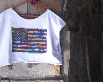 80s AMERICAN FLAG CROP tee vintage cropped top geometric abstract t-shirt xl