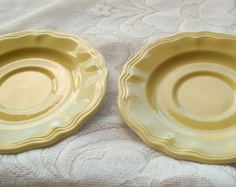 Japan Ironstone saucer Plates Yellow Hallmarked Vintage Set of Two Buttercup Gorgeous