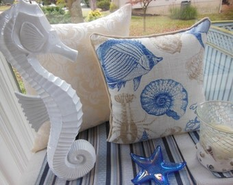 Beach Sea Life Pillow - Indoor / Outdoor Fabric - Sea Creatures - Reversible 16.5 x 16.5 Inch Pillow -  Burlap Fabric Piping - Crab, Fish