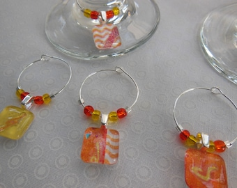 Set of Six Wine Charms - Tangerine and Lemon Wine Charms - Orange and Yellow - Glass Wine Charms Made by Pillowscape Designs - Wine Tags