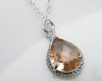 Peach Champagne Necklace / Bridesmaid Necklace /  Wedding Necklace /  Sterling Silver  Necklace / Bridal Jewelry / Gift For Her