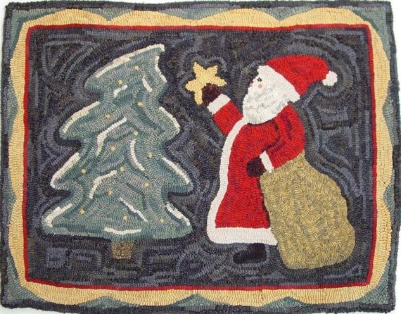 "Rug Hooking PATTERN, Santa Brings The Star, 22"" x 28"", J861, Christmas, Saint Nick, Primitive Hooked Santa"