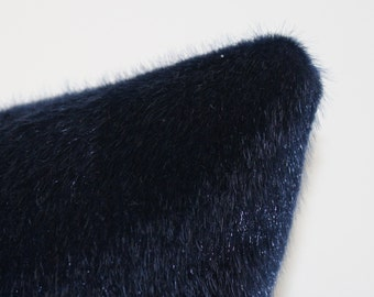 "1 Decorative Pillow Cover - Pony Fur Fabric - 16"" - Midnight Blue - Ink Blue"