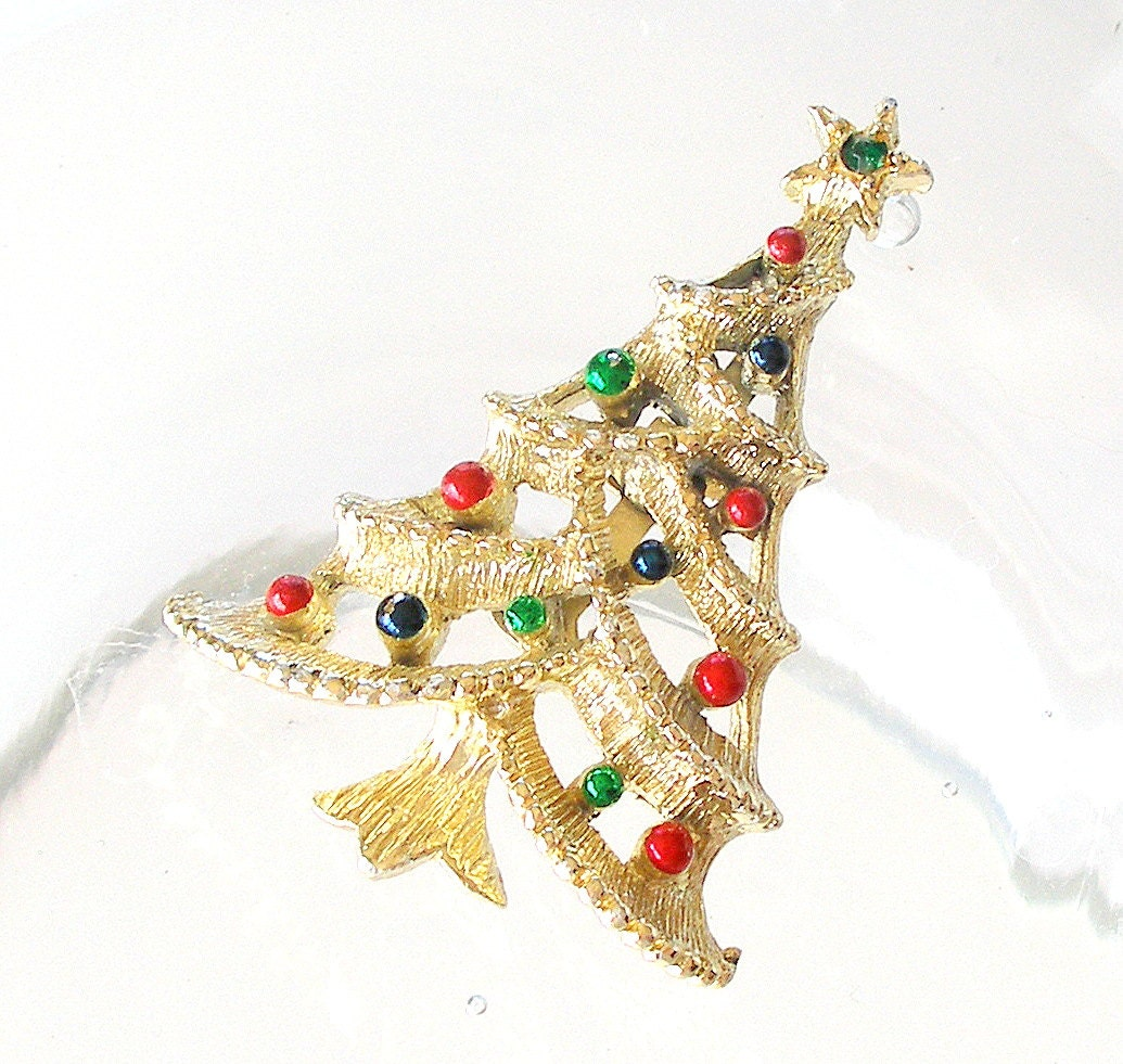 Blue And Green Christmas Tree: Vintage Gerrys Christmas Tree Pin Brooch Gold Red Green Blue