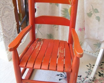 Vintage Child's Rocking Chair Chippy Paint Red Slat Seat Rocker