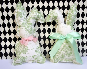 Green & White Toile Bunny Rabbit