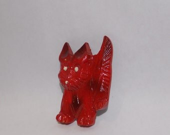 Vintage 1940's Hand-carved Whimsical Dog Pin/Brooch