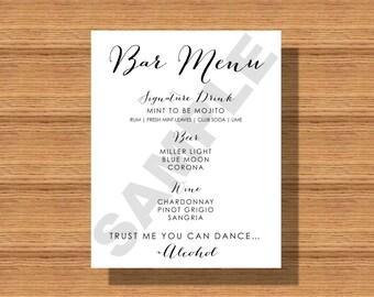 Wedding Bar Menu, Trust Me You Can Dance-Wedding Bar Menu Sign