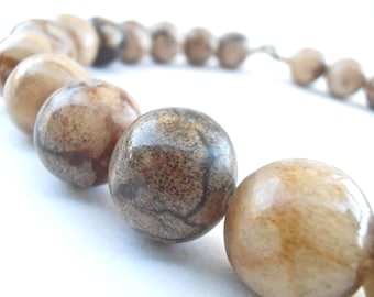 Vintage Picture Jasper Bead Necklace Round Brown Ball Stone Single Strand Marble Swirl 17 Inches Long 17mm Villacollezione Villa Collezione