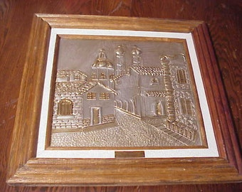 Vintage Mexican Metal Wall Art Framed - by Rosy de Perez Arte Mexico Cityscape