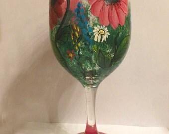 Pink Daisy garden Hand painted wine glass
