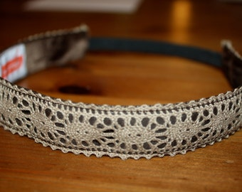 Feminine Lace Headband - Non Slip - Light Brown/ Tan Headband - 1 inch wide