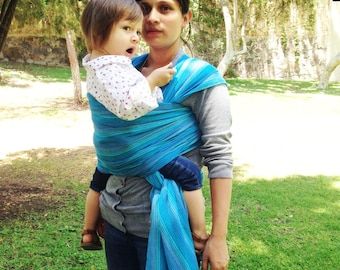 Baby Wrap Carrier Mexican Nech Cyan fine lines Wrap 5.5 yards