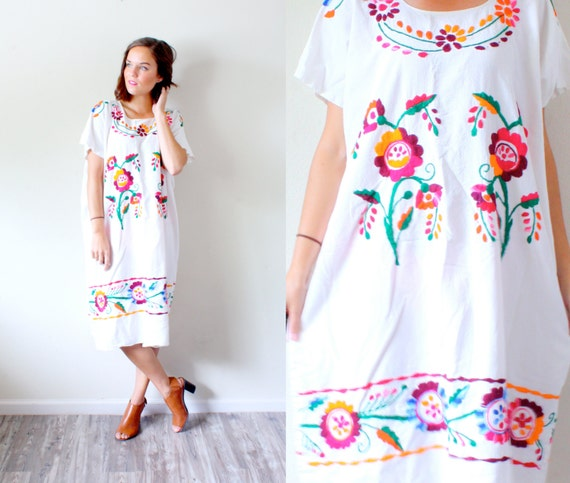 White Mexican Embroidered Wedding Dress: Vintage Mexican Embroidered Dress // Floral Print Dress