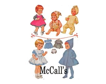 """17"""" Doll Clothes 1960s Vintage Sewing Pattern baby and toddler Dolls Wardrobe McCalls 7592 winter tights coats dress aprons romper sleepwear"""