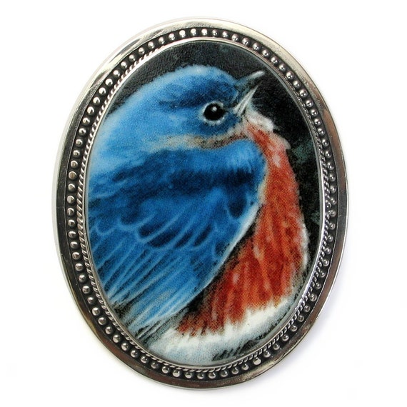 Broken China Jewelry Bluebird Blue Bird Sterling Pin Pendant