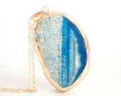 20% OFF Blue - Natural Agate Slice Druzy Middle Pendant Necklace- ASN13