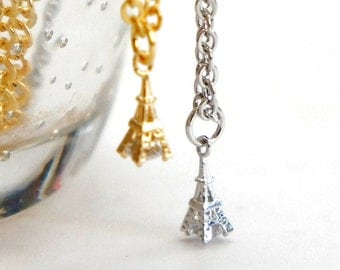 Petit Gold / Silver Eiffel Tower with CZ Stone Necklace - Simple Everyday Jewelry - Eiffel Tower Necklace - Bridal Jewelry
