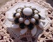 Magnificent Layered Floral Rhinestone Vintage Goldtone Brooch