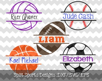 Split Sports Designs .DXF/.SVG/.EPS File for use with your Silhouette Studio Software (Soccer, Basketball, Volleyball, Baseball, Football)
