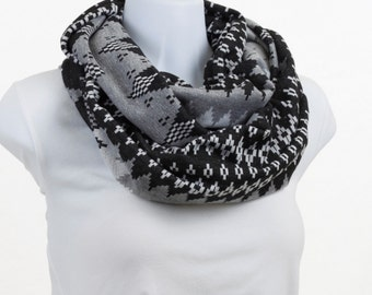 Long Woolly Zig Zag Infinity Scarf in Black and Shades of Gray with Silver Bling Thread Throughout ~ WL036-L1