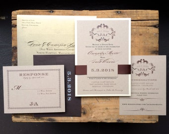 """Rustic Wedding Invitations, Chocolate Brown and Gold, Rustic Gold Luxury Invites - """"Equestrian Love"""" - Sample"""
