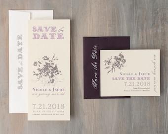 "Rustic Plum Purple Save the Dates, Lavender Save the Date Cards, Elegant Save the Date - ""Purple Charmer"" Save the Dates"