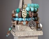 Turquoise Memory Wire Charm Bracelet
