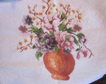 vtg needlepoint chair cover. pillow cover, needlework,