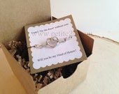 Bridesmaid Invitation: One (1)-  Tie the Knot Heart Bracelet Bridesmaid Proposal - Will you be my bridesmaid, invitation, maid of honor