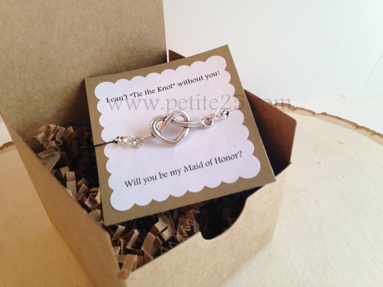 Honor Or Honour On Wedding Invitations: Bridesmaid Invitation: One 1 Tie The Knot Heart Bracelet