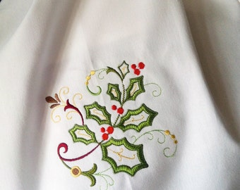 Jacobean holly embroidered cotton towel for the Holidays